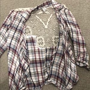 americanrag see through in back flannel open front
